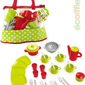 ECOIFFIER Dětská sada nádobí set kuchyňský čajový servis v igelitové tašce