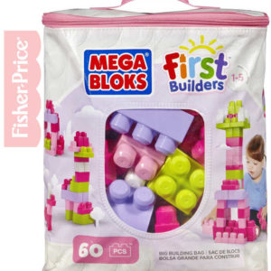 FISHER PRICE MEGA BLOKS Stavebnice 60 dílků v plastové tašce pro holky