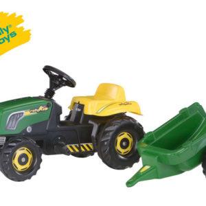 ROLLY TOYS Traktor šlapací Rolly Kid s vlekem zelený plast