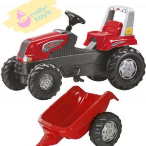 ROLLY TOYS Traktor šlapací Junior s vlečkou červený