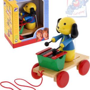 OLYMPTOY WOODY Pes tahací s xylofonem tahadlo na kolečkách 90202