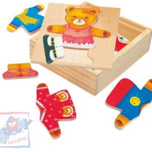 WOODY DŘEVO Puzzle šatní skříň medvědice *DŘEVĚNÉ HRAČKY*