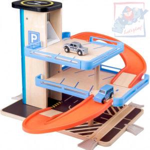 WOODY DŘEVO Garáž 2 patra parkovací dům s výtahem set se 2 autíčky plast