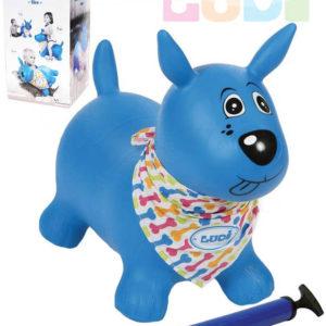 LUDI Pes baby skákací modrý set zvířátko s pumpičkou a šátkem se jmenovkou
