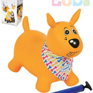 LUDI Pes baby skákací žlutý set zvířátko s pumpičkou a šátkem se jmenovkou