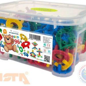 VISTA Stavebnice plastové kroužky DISCO set 96 dílků v boxu pro nejmenší