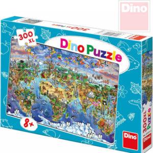 DINO Hra Puzzle Mapa světa ilustrovaná 300 dílků v krabici