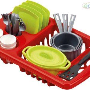 ECOIFFIER Dětská sada nádobí set kuchyňský s odkapávačem a doplňky 34cm PLAST