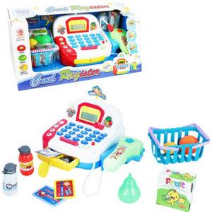 Dětská pokladna na baterie set s košíkem s potravinami a doplňky Světlo Zvuk