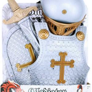 Sada dětská rytířská plastový stříbrný set meč, helma, štít a vesta