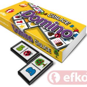 EFKO Hra Domino číslice obrázky a čísla 28 dílků pro malé děti v krabičce