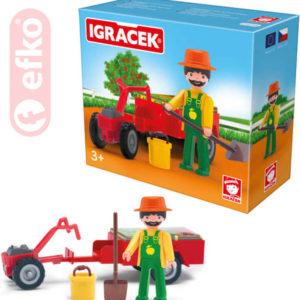 EFKO IGRÁČEK Zahradník s traktůrkem a doplňky v krabičce STAVEBNICE
