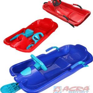 ACRA Boby dětské SKIBOB s volantem a 2 brzdami jednolyžové 3 barvy plast