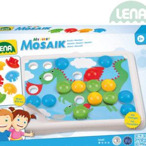 LENA Baby mozaika klobouček hladký 3,3cm 36ks + předlohy v krabici plast 35630