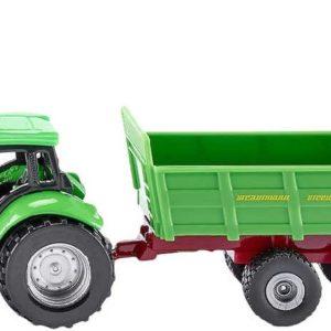 SIKU Model traktor s vlekem zelený kov