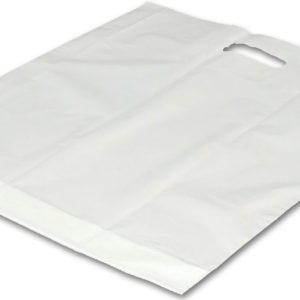 Velká igelitová taška s průhmatem bílá 54 x 59cm