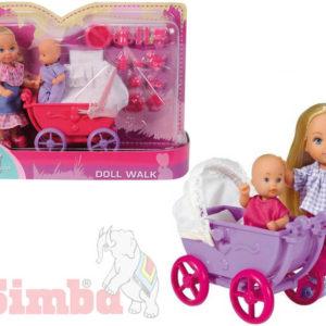 SIMBA Evička panenka set s kočárkem a doplňky 2 druhy