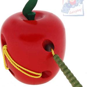 WOODY DŘEVO Provlékadlo Jablko s červíkem *DŘEVĚNÉ HRAČKY*