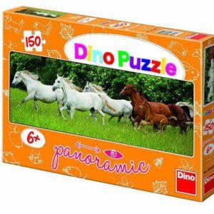 DINO Puzzle 150 dílků Koně běžící panoramatické