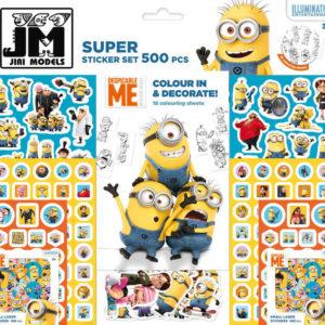 JIRI MODELS Samolepky dětské 500ks velký set s blokem Mimoni (Minions)