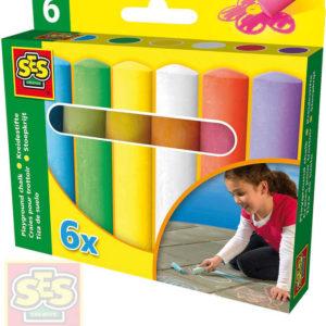 SES CREATIVE Křídy chodníkové dětské barevné tlusté set 6ks v krabičce