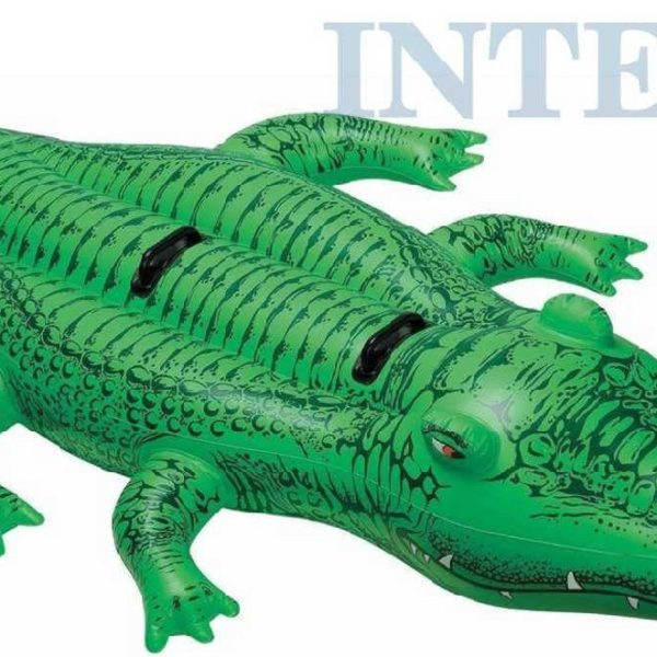INTEX Krokodýl nafukovací 203x114cm vozítko do vody s úchyty