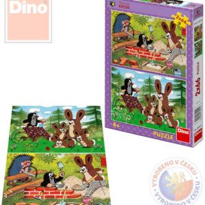 DINO Puzzle Krtek (Krteček) a zajíci 2x66 dílků 2v1 32x22cm v krabici