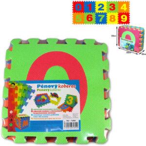 Koberec pěnový barevný set 10 dílků ve folii číslice soft