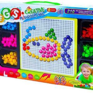 Mozaika vkládací barevné hříbky kreativní set 210ks s podložkou v krabici