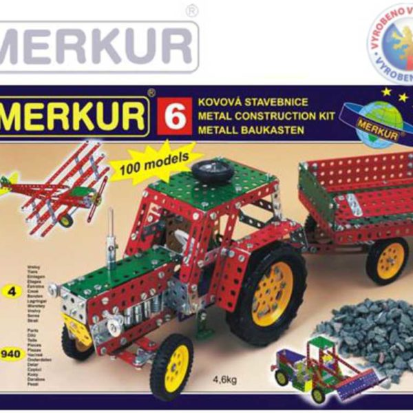 MERKUR 6 Velká sada traktor * KOVOVÁ STAVEBNICE *