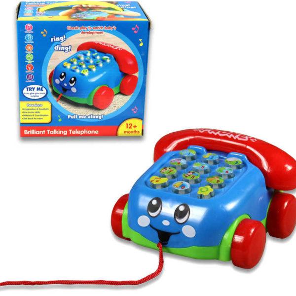 Baby telefon s obličejem klasický tahací na baterie se šňůrkou na kolečkách plast