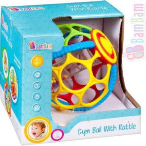 ET BAM BAM Baby Koule gumová gym ball s chrastítkem pro miminko
