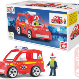 EFKO IGRÁČEK Hasičské auto set s hasičem a doplňky v krabičce STAVEBNICE