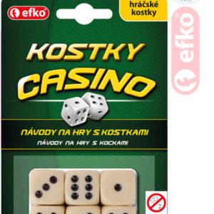 EFKO Hra kostky hrací kasino keramické slonová kost set 6ks na kartě