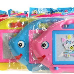 Tabulka dětská magnetická rybka set s razítky a kouzelným perem 4 barvy plast