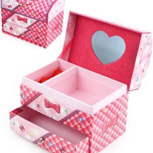 Šperkovnice truhlice dětská skříňka na šperky se zrcátkem srdíčko 1 šuplík