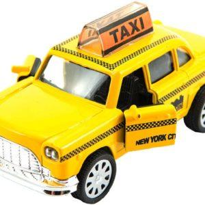 Auto taxi žluté 11cm kovový taxík zpětný nátah na baterie Světlo Zvuk