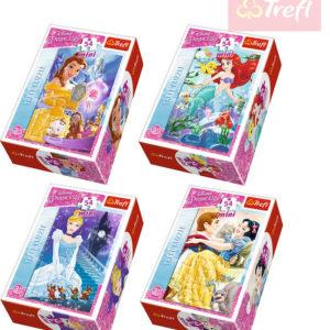 TREFL PUZZLE Mini skládačka Disney Princess set 54 dílků v krabici 4 druhy