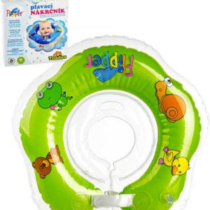 Baby nákrčník plavací kruh Flipper zelený nafukovací podpěra hlavy do vody pro miminko