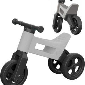 Dětské odrážedlo Funny Wheels 2v1 odstrkovadlo tříkolka / 2 kola šedé plast