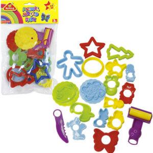 Dětská plastová vykrajovátka set 16ks s válečkem a nožíkem různé druhy v sáčku