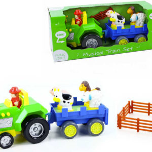 Set hudební traktor + vlečka se zvířátky na baterie Světlo Zvuk plast
