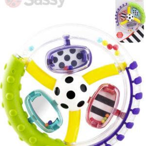 SASSY Baby chrastítko kroužek s míčkem se zrcátkem plast pro miminko