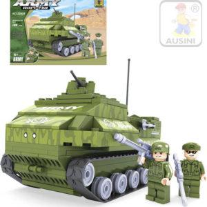 AUSINI Stavebnice ARMY Armádní tank 199 dílků + 2 figurky s doplňky plast