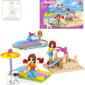 AUSINI Stavebnice DÍVČÍ SVĚT Na pláži sada 96 dílků + 3 figurky s doplňky plast