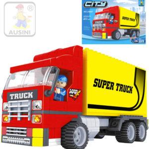 AUSINI Stavebnice MĚSTO Auto kamion sada 271 dílků + 1 figurka s doplňky plast