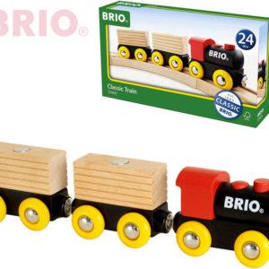 BRIO DŘEVO Vlaková souprava set 5ks mašinka + 2 vagonky s nákladem