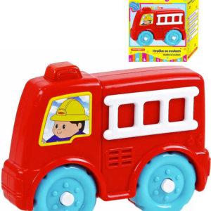 Baby autíčko požární plastové na baterie pro miminko hasiči Světlo Zvuk