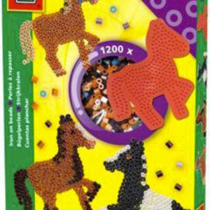 SES CREATIVE Korálky zažehlovací koně kreativní set 1200ks s podložkou