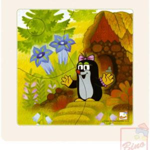 BINO DŘEVO Baby puzzle v rámečku Krtek 12x12cm paní Krtečková 4 dílky